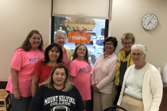 Erika O'Brien Mason '89 and daughter Emiliegh Mason, Sandy Pritz '60, Betsy Clarke '73, Anne Fields '71, Susan Coulson Burghes '78, Meg Teaford '67, and Joan Stack '74 in Columbus, OH.