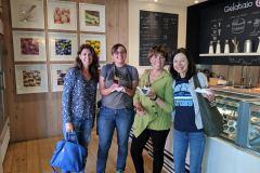 Laura Prentiss '91, Julia Fearon '19, Rebecca Garewal '85, and Peri Caylor '83 in Palo Alto, CA.