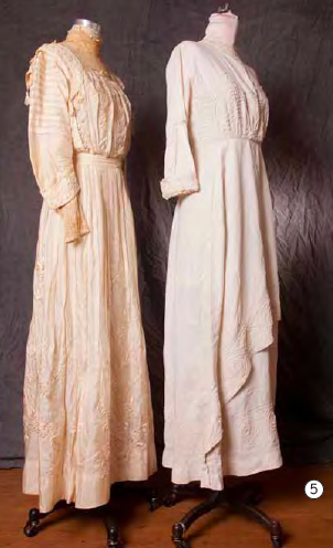 I admire the grace of pale, high-collared dresses, the white worn by Jessie F. Maclay Jones (MHC 1910), the ivory from 1916.