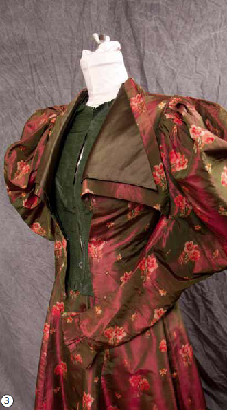 "A grande dame of a silk taffeta dressdemands attention. As it happens, it speaks French: a label inside the waist belt reads ""A. Felix Breveté / Faubourg St. Honoré /Paris."" Breveté means patented, but this design's silhouette became the rage in the 1890s. Puffed shoulders and ballooning upper sleeves made waists look smaller by contrast, an illusion that returned in the 1980s, as relics in my own closet attest."
