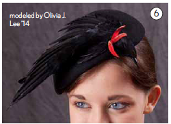 A bird constructed of real feathers on a 1950s hat (above) is both saucy and strange, a surrealist fantasy.