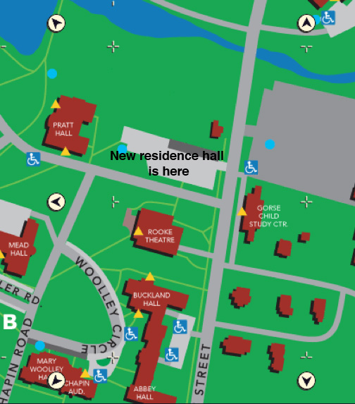 campus map showing location of new residence hall