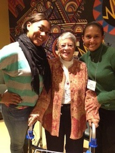Brittany Lambert '16 (left) and mom Carla Lambert '88 (right) with Mary Williamson McHenry '54