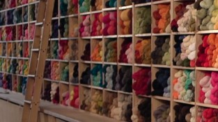 Just the Yarn shelves of yarn