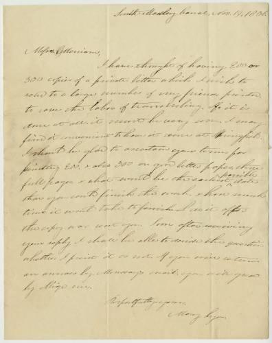 Letter written in 1836 by Mary Lyon