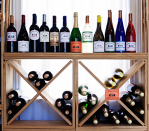wine in racks at Hudson-Chatham Winery