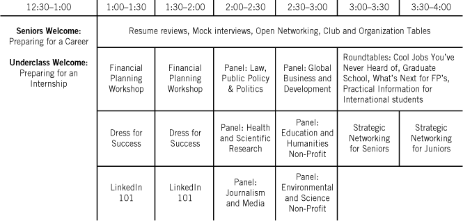 Career Networking Event Agenda Students