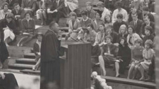 The Rev. Dr. Martin Luther King, Jr. speaks in Gettell Amphitheatre on October 20, 1963. Photo courtesy of MHC Archives/Vincent S. D'Addario