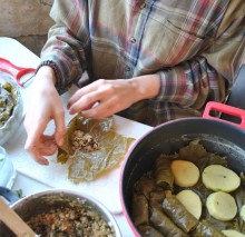 Rolling grape leaves (Anabelle Harari '91)