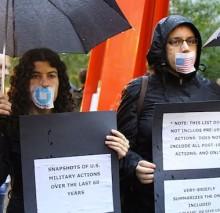 Photo: Liz Roberts '91 at an antiwar protest