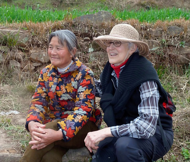 Hope Justman '64 with Chinese farmer