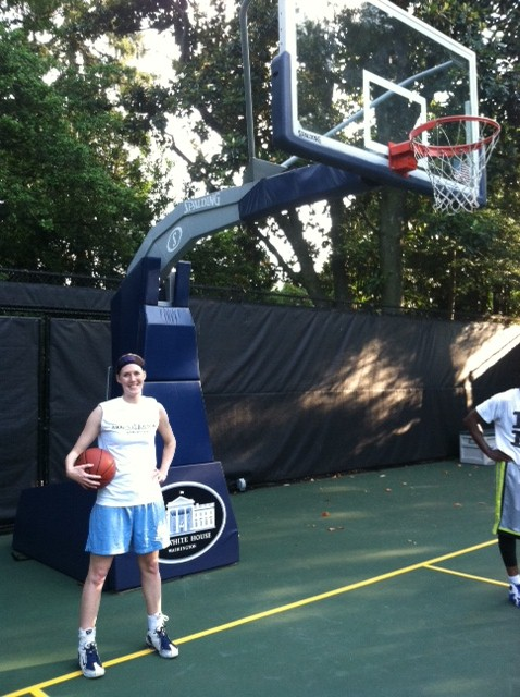 Meg A. Massey '08 plays basketball at the White House.
