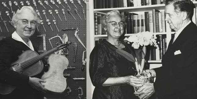 Apgar posed with the viola and violin she made, and some of her instrument-making tools; In 1961, Harold Patterson, a New Jersey orchid cultivator, named a new breed of orchid in honor of Virginia Apgar. Apgar, an avid gardener, was delighted.