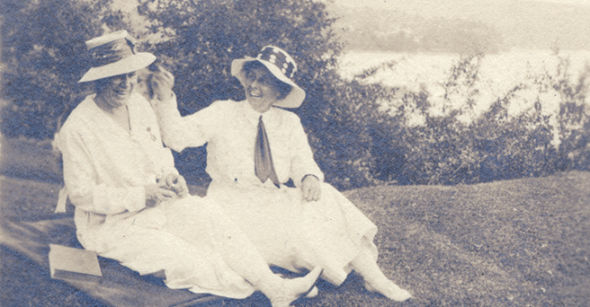 Mary Woolley, left, and her partner, Jeannette Marks, on a hillside, circa 1930s