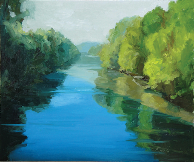 Sun on River, 2010. Oil on panel, 20 in. x 24 in.