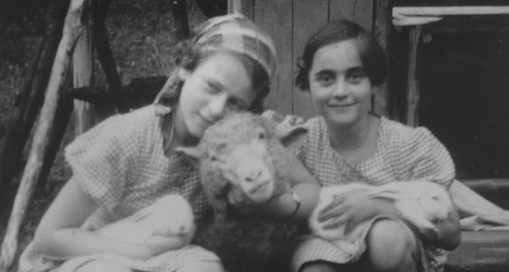 Gerda (left) and Doris on a farm in Germany in 1938