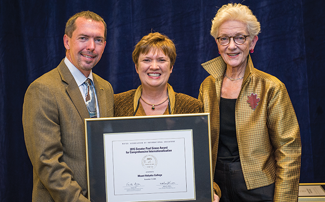 President Pasquerella receives the Senator Paul Simon Award from NAFSA members in DC in November.