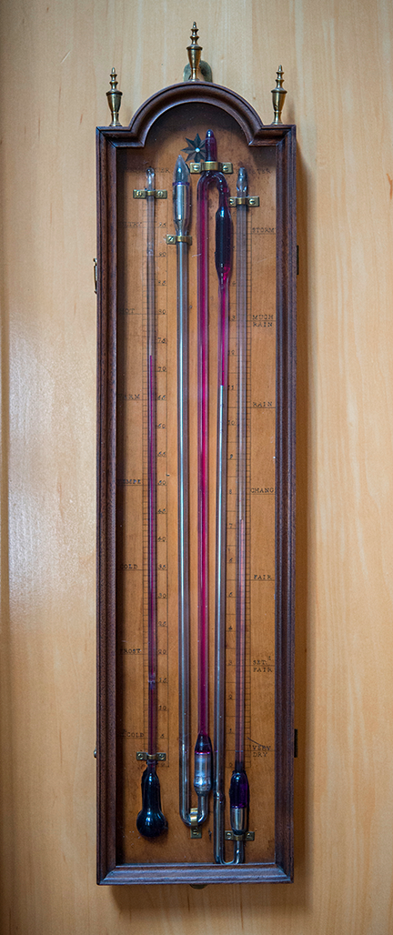 Multi-tube Barometer and Spirit Thermometer Ca. 1790, rounded mahogany and fruitwood case, glazed front panel, and brass and ivory fittings, English, Torre