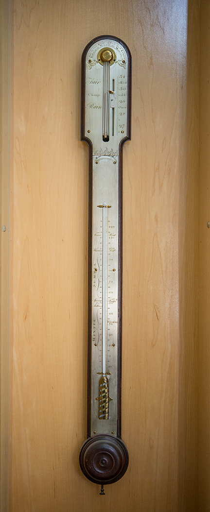 Stick Barometer with bayonet cistern tube and Fahrenheit thermometer Ca. 1770, mahogany case with silvered scale and brass fittings, English, George Adams I (b. ca. 1704-d. 1772) Fleet Street, London