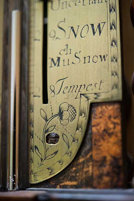 Stick Barometer (detail) Ca. 1690, walnut with veneered mulberry wood panel and brass scale and fittings, English, Thomas Heath