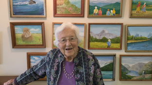 Meg Barstow '42 with her art