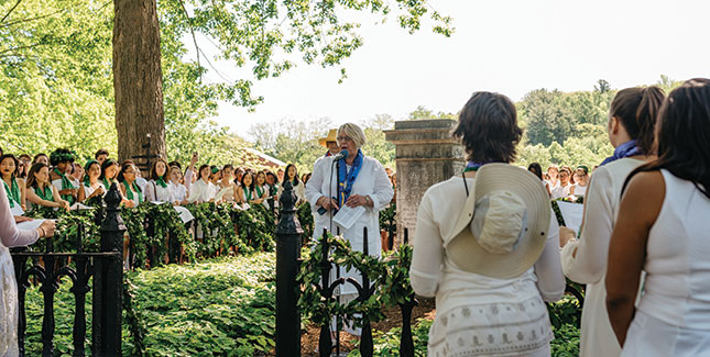 Acting President Sonya Stephens speaks during the laurel chain ceremony at Mary Lyon's grave in May.