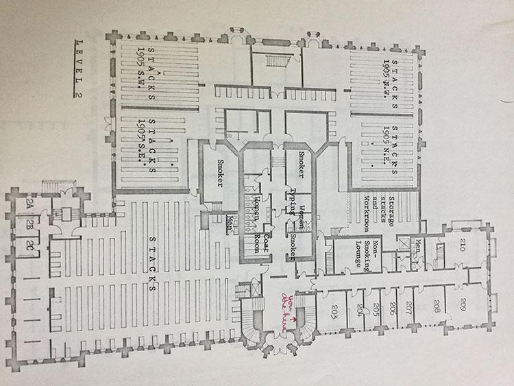 1968: Second Floor library floor plan
