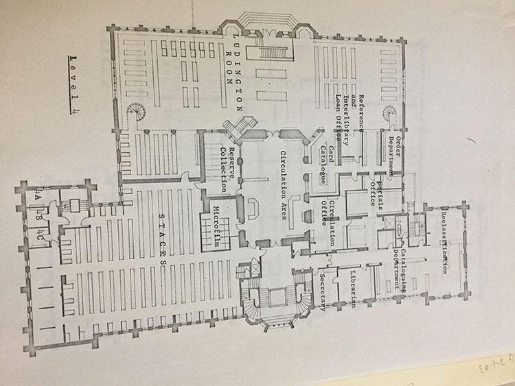 1968: Fourth Floor library floor plan