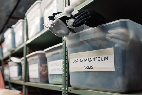 Bins of mannequin arms in Rooke