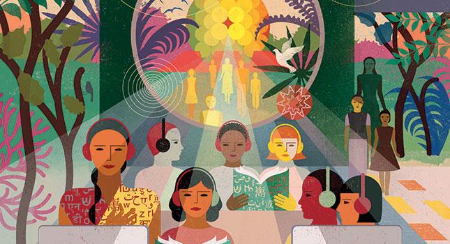 Illustration of people wearing headphones