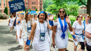 Members of the class of 1988 march in the Alumnae Parade