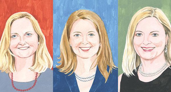 Illustrated headshots of Eileen Albillar '96, Tami Gouveia '96 and Karen Middleton '88