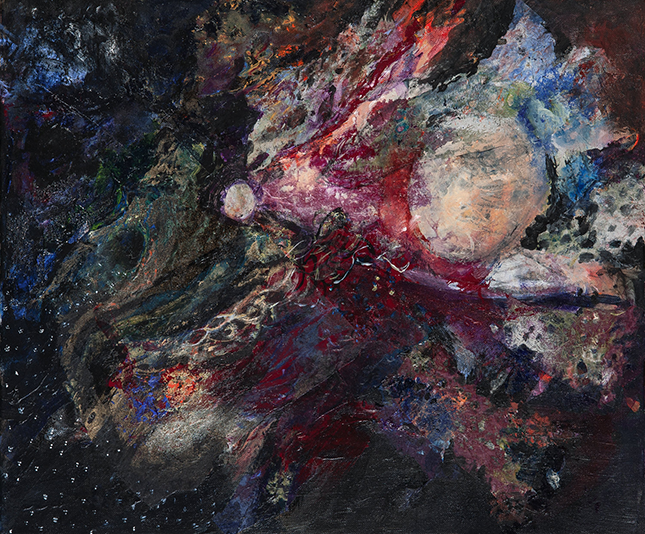 Colorful abstract painting of cosmic details