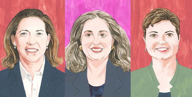 Illustration of alumnae headshots