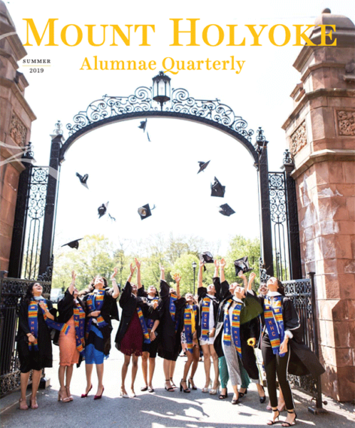 The cover of the summer 2019 Quarterly shows graduates standing at the Gates, tossing their caps into the air.