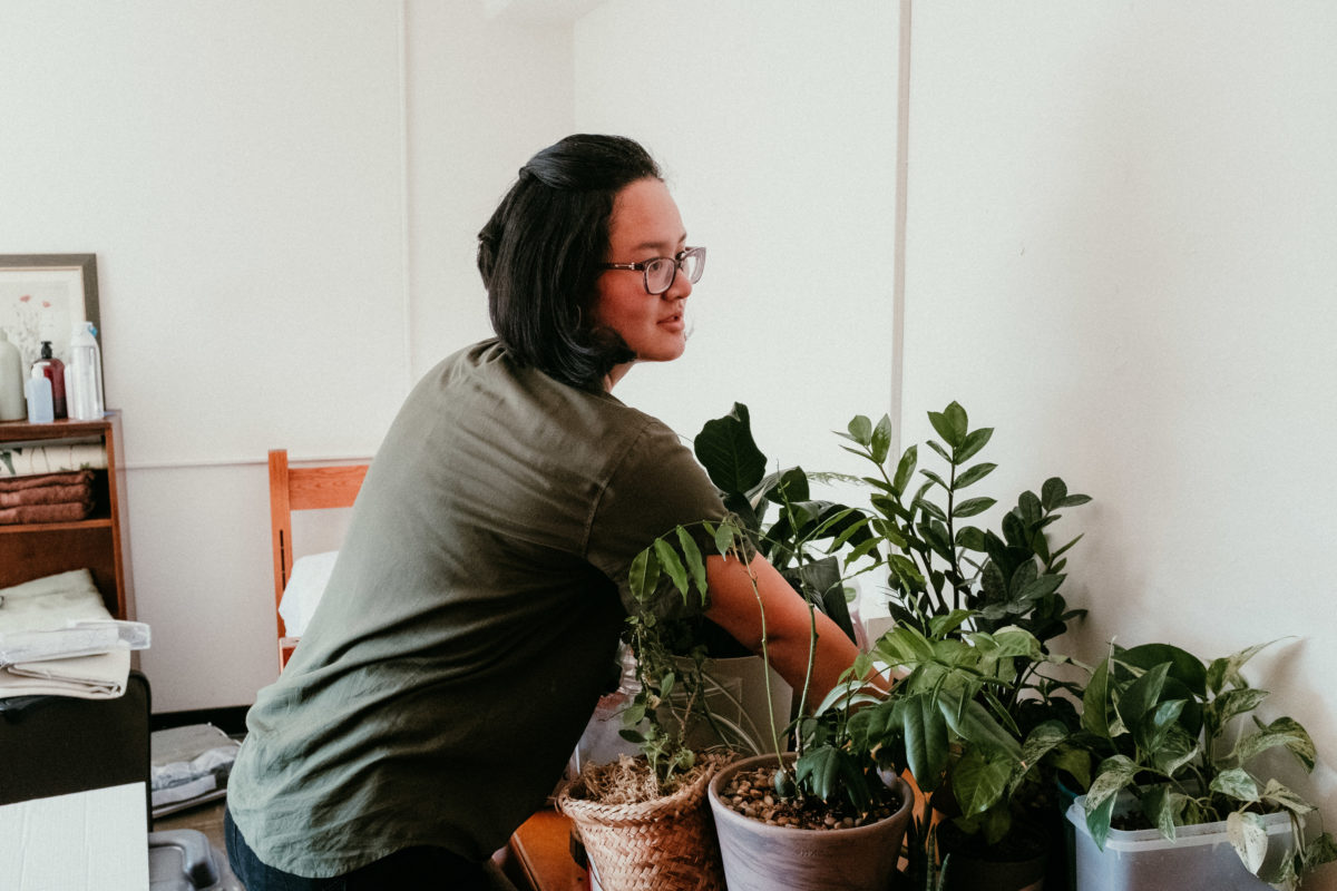 A student arranges several potted plants that are sitting on their desk.