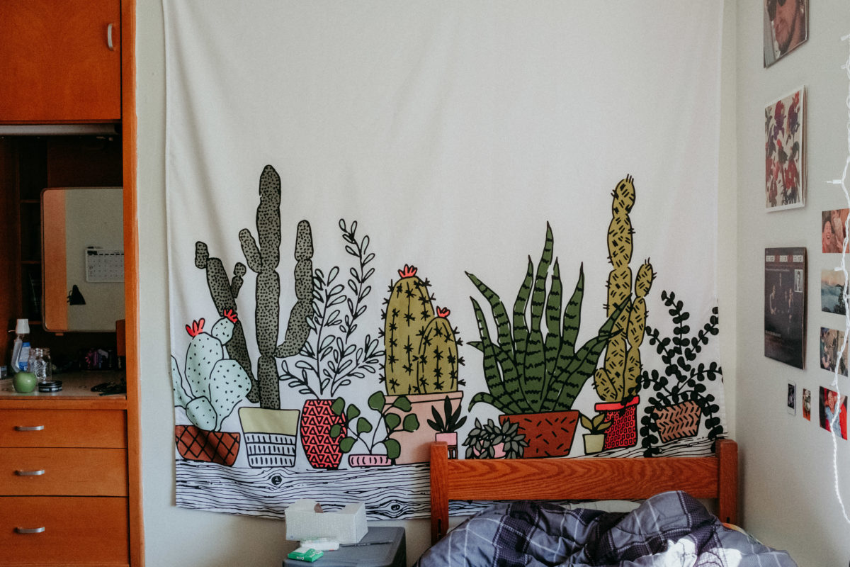 A wall tapestry with a white background and illustrations of succulents hangs inside a student room in Abbey Hall,