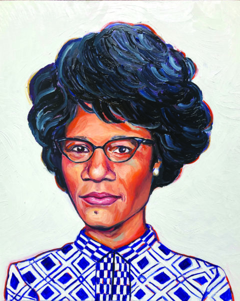 An oil painting portrait of Shirley Chisholm from the shoulders up. She looks directly at the viewer.