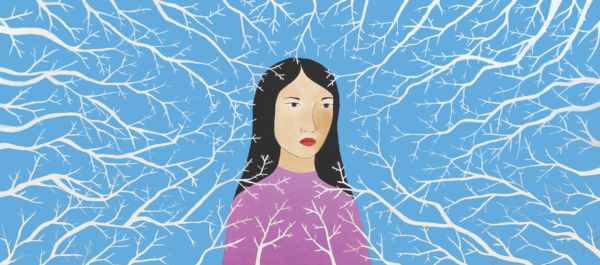 An illustration of a woman in front of a sky blue background. She looks down and to the left of the viewer. White tree branches emerge from the edges of the illustration and surround her face.