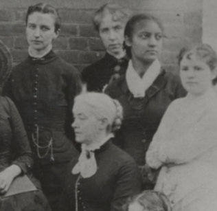 A photo of Hortense Parker and several classmates. Parker is looking off to the right of the camera.
